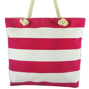 Hot pink and White Stripes Canvas Shoulder Bag$21.